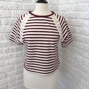 NWOT Old Navy striped short sleeve top lace Sz XS